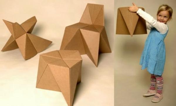 DIY mit Kindern karton pappe klappstuhl