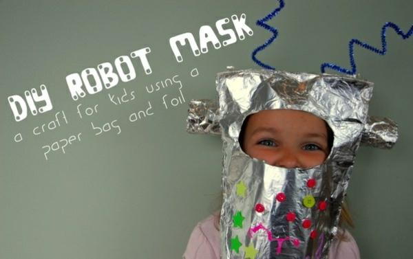 Kinder roboter maske Basteln diy