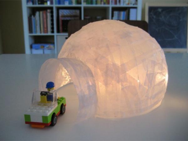 Basteln mit Kindern schneehaus leuchtend