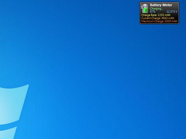 Battery Meter Nützliche kostenfreie Gadgets fürs Windows 7 Desktop