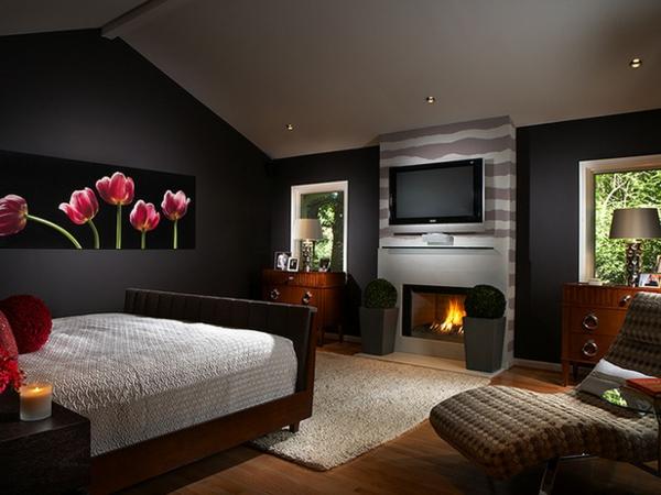 Schlafzimmer Designs braun einbaukamin streifen gemälde