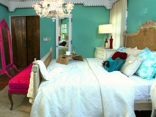 Bunte-Schlafzimmer-Designs-türkis-farben-wand-kissen-bettwäsche