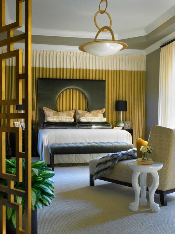 Bunte Schlafzimmer Designs vorhänge modern kopfteil