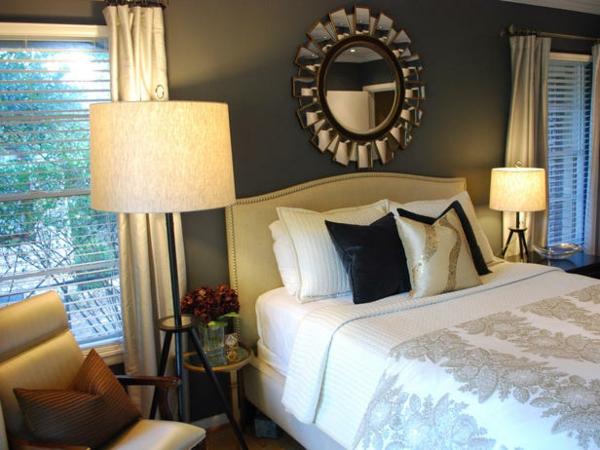Bunte Schlafzimmer Designs wandspiegel subtil lampenschirm stehlampe