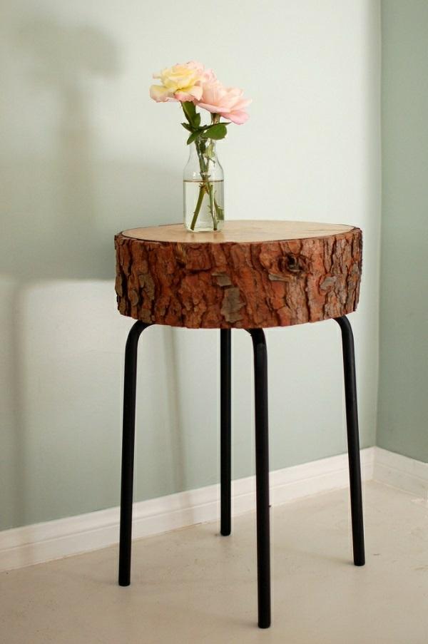 Dekoideen mit Holzscheiben beistelltisch tischbeine diy