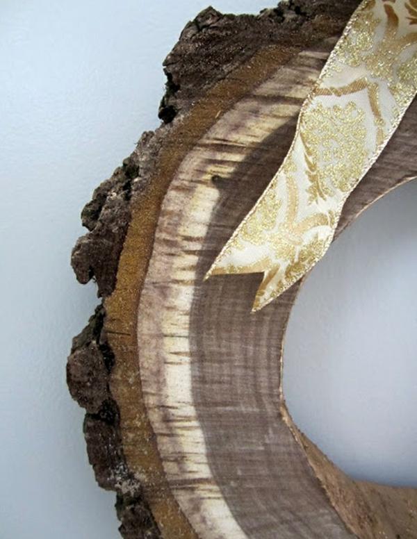 DIY Dekoideen mit Holzscheiben kerzen zierband golden