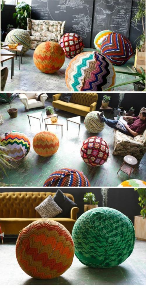 DIY Projekte aus vorhandenen Stoffen yoga ball gestrickt