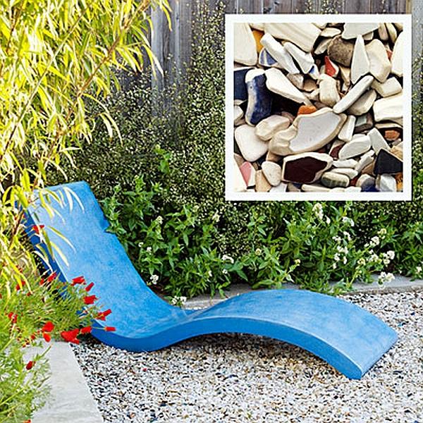 DIY Wohnideen rohre pflanzen außenbereich metall stuhl liege