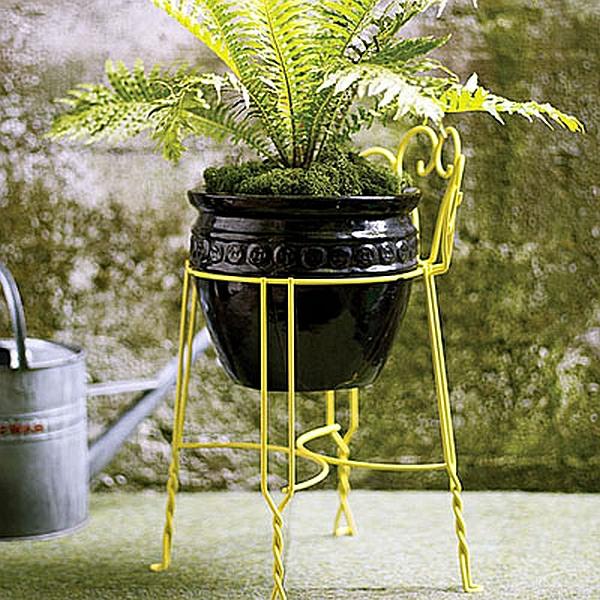 rohre pflanzen ständer metall gelb interessant