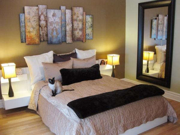 Das Schlafzimmer günstig einrichten bettwäsche seide katze