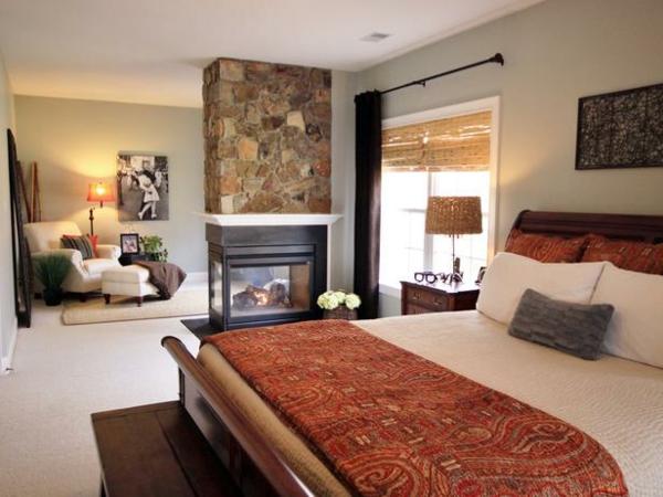 Das Schlafzimmer günstig einrichten steinwand kamin wohnecke
