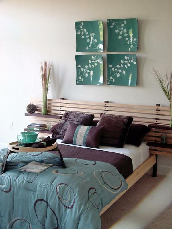 Das Schlafzimmer günstig einrichten wand dekoration teller grün bettgestell