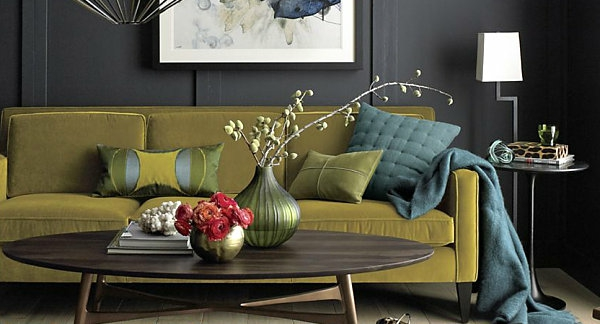 Eklektische Inneneinrichtung grasgrün blau farben oval tischplatte