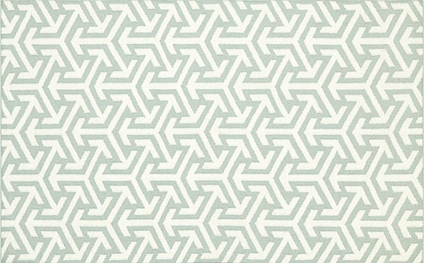Eklektische Inneneinrichtung teppich blau weiß muster