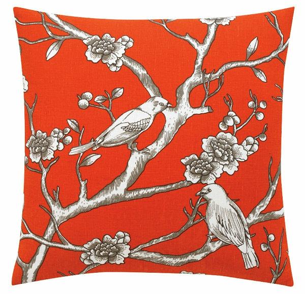 Eklektische Inneneinrichtung vogel muster orange weiß muster wurfkissen