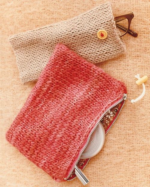 Dekoideen für Weihnachtsgeschenke gestrickt handtasche