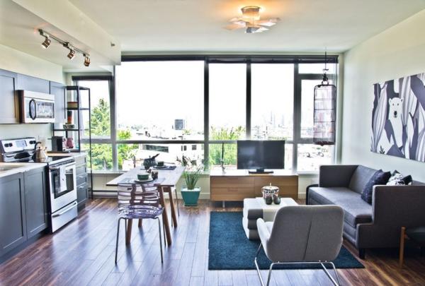 Wohnzimmer und Küche in einem Raum kombiniert eklektisch einrichtung