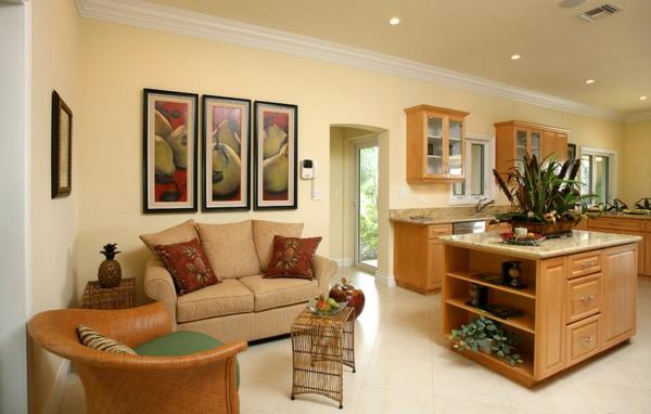 Wohnzimmer und Küche in einem Raum kombiniert einrichtung design holz