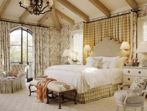 Heimtextilien und Texturen richtig kombinieren gardinen wandlampen schlafzimmer
