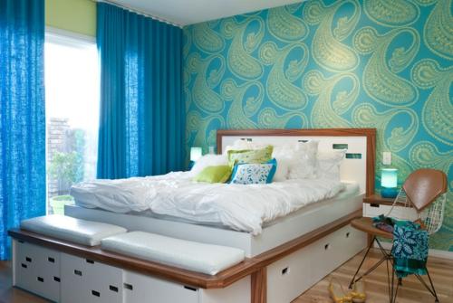 Heimtextilien und Texturen richtig kombinieren schlafzimmer grün türkis muster