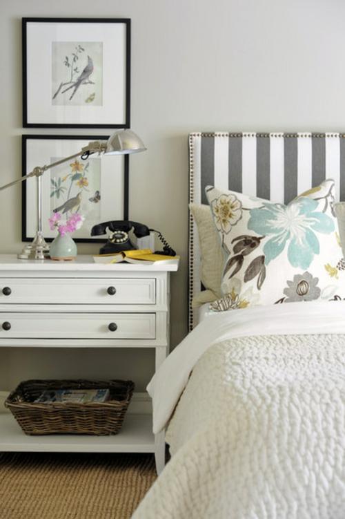 Heimtextilien und Texturen richtig kombinieren schlafzimmer kopfteil streifen