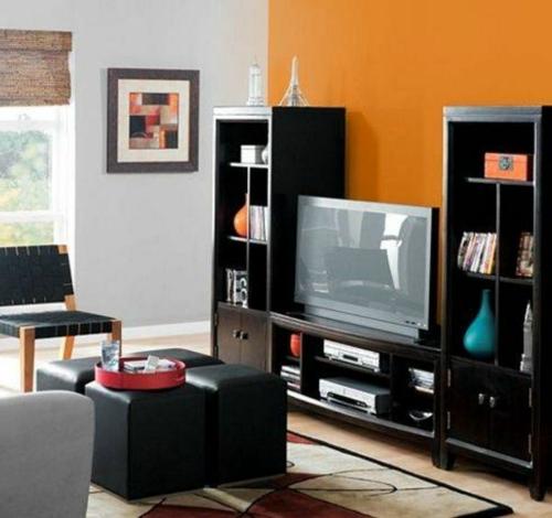 Kühne Wandgestaltung kontrastwand orange wohnzimmer