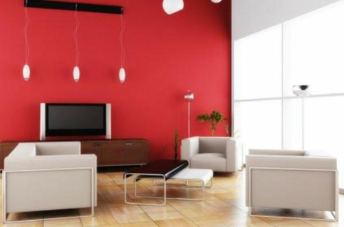 Kühne Wandgestaltung kontrastwand rot wohnzimmer sessel couchtisch