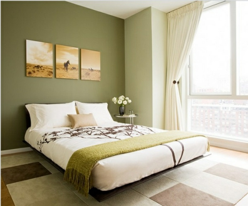 kräftige farben Wandgestaltung  schlafzimmer dunkelgrün weiß bettwäsche