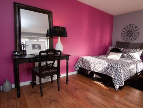 Kühne Wandgestaltung kontrastwand schlafzimmer feminine