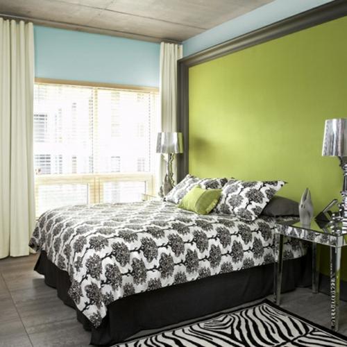Wandgestaltung kontrastwand schlafzimmer grün frisch