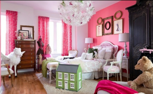 Kühne Wandgestaltung kontrastwand schlafzimmer kinderzimmer rosa mädchen