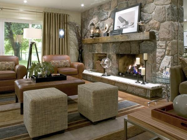 Untergeschoss Einrichten Und Renovieren Hocker Quadratisch Steinwand Kamin