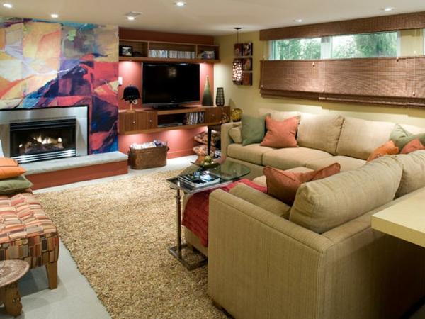 untergeschoss einrichten und renovieren wohnzimmer wände fernseher kissen