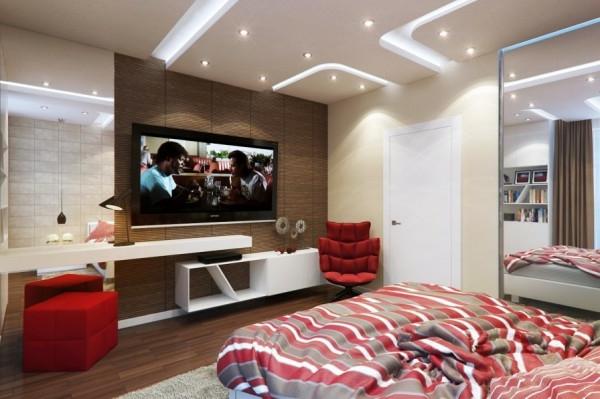 Schlafzimmer modern gestalten gestreift bettwäsche
