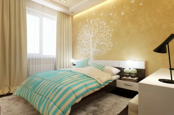 Kleines Schlafzimmer Neu Gestalten : Kleines Schlafzimmer modern gestalten gestreift türkisfarbe