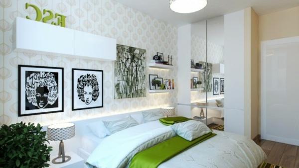Schlafzimmer modern grün  Kleines Schlafzimmer modern gestalten - Designer Lösungen