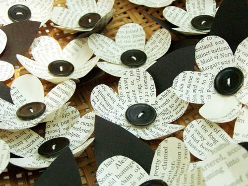Party Dekoration aus Papier blümchen knöpfe Leichte DIY