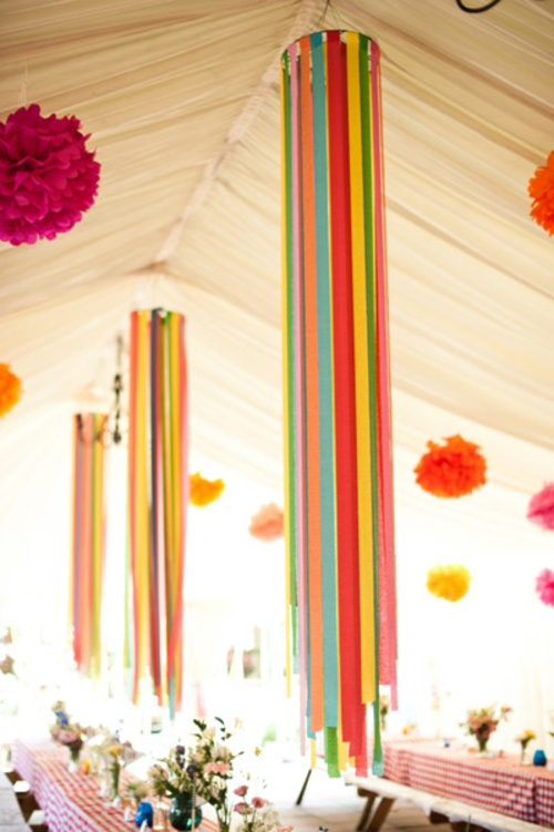 Party Dekoration aus Papier frei hängend bunt Leichte DIY