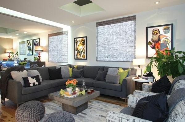 Luxus Wohnzimmer einrichten bauplan grüne wurfkissen