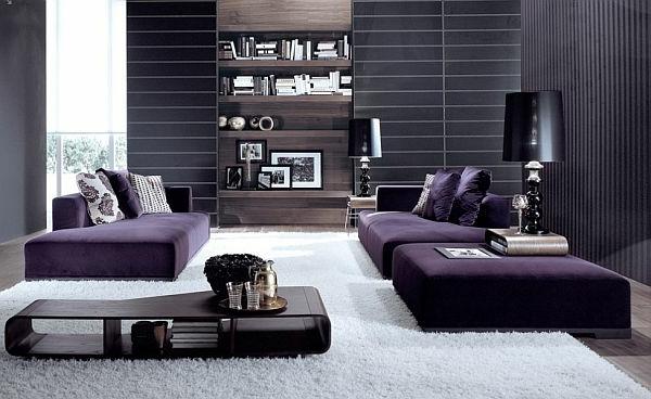 Wohnzimmer einrichten bauplan großartig purpurrot samt sofa