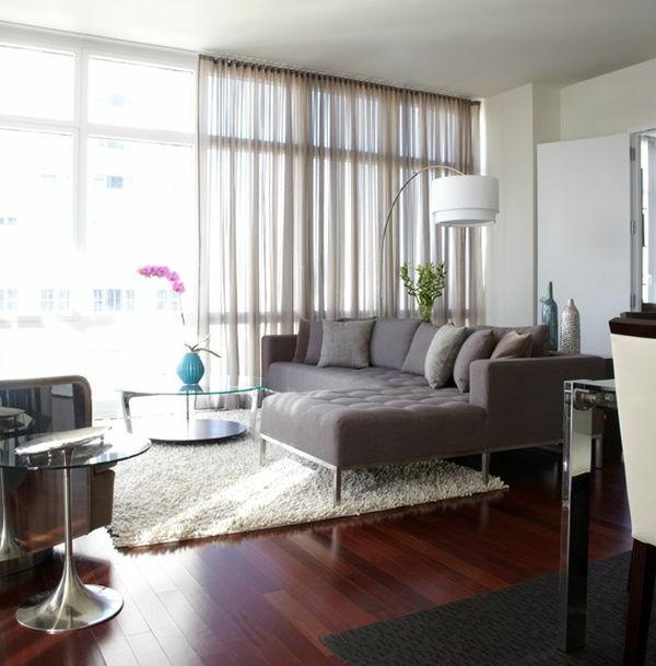 Luxus Wohnzimmer einrichten gardinen luftig bogenlampe