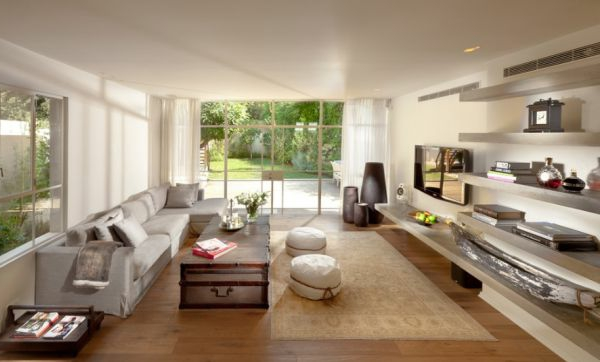 Wohnzimmer einrichten gemütlich sofas regale