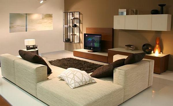 Wohnzimmer einrichten gemütlich sofas teppich weich