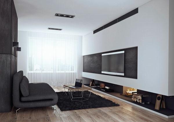 wohnzimmer einrichten holzbodenbelag brennholz luxus - Beispiele Einrichtung Wohnzimmer