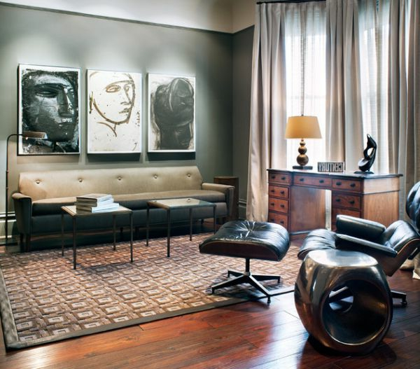 Luxus Wohnzimmer einrichten leder schwarz liege