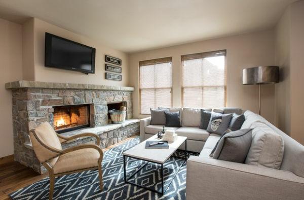 Luxus Wohnzimmer Einrichten Stein Einbaukamin Grau
