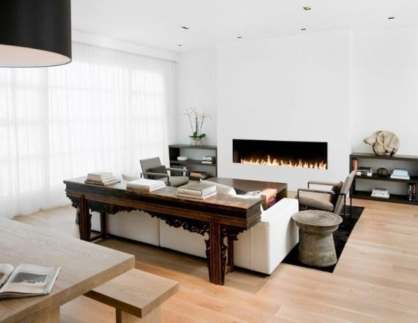 Luxus Wohnzimmer einrichten weiß minimalistisch feuerstelle