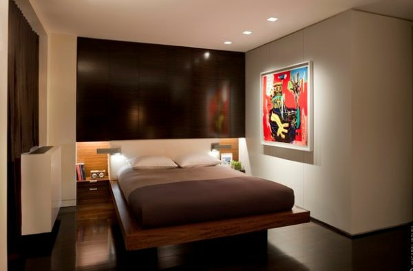 Modernes Jugendzimmer einrichten braun bettgestell holz matratze gemälde