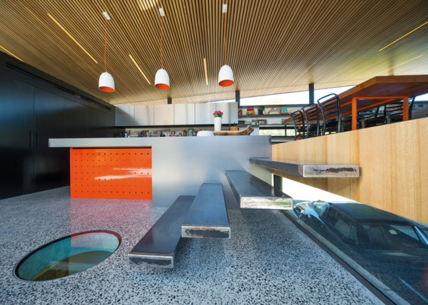Mullet Haus march studio schwebende treppe hängelampen