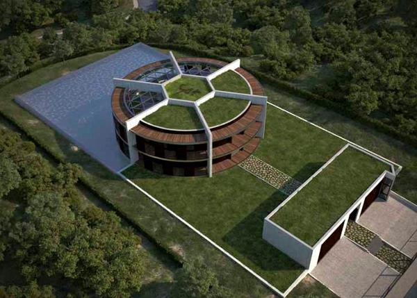 Nachhaltiges Ökohaus in Form von Fußball barcelona